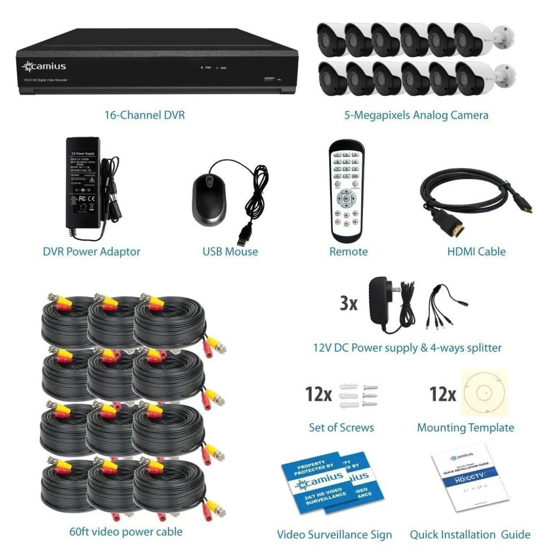 4K16125M 16CH DVR 12 5MP cameras kit