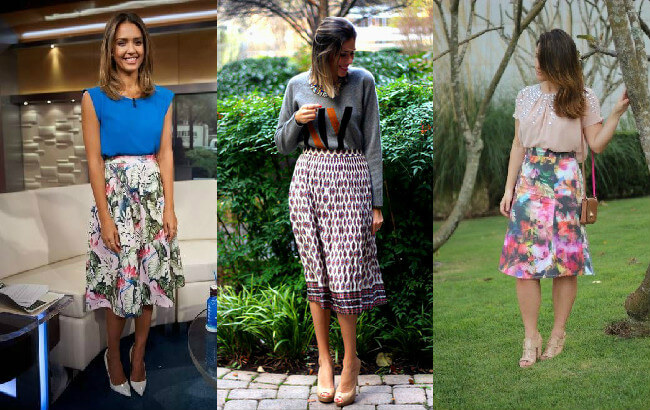 looks com saias midi estampadas