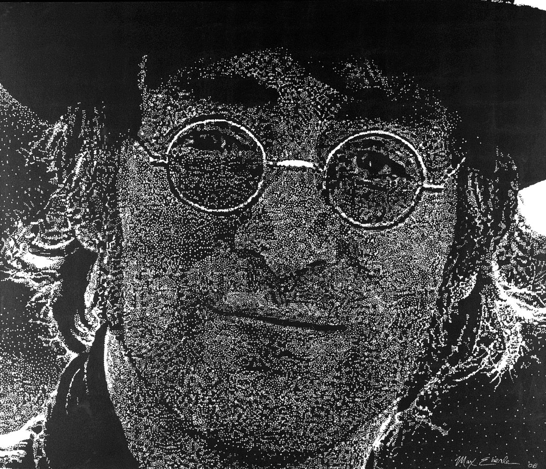 John Lennon painting by Max Eberle. 7 feet by 6 feet, acrylic on canvas, fluorescent
