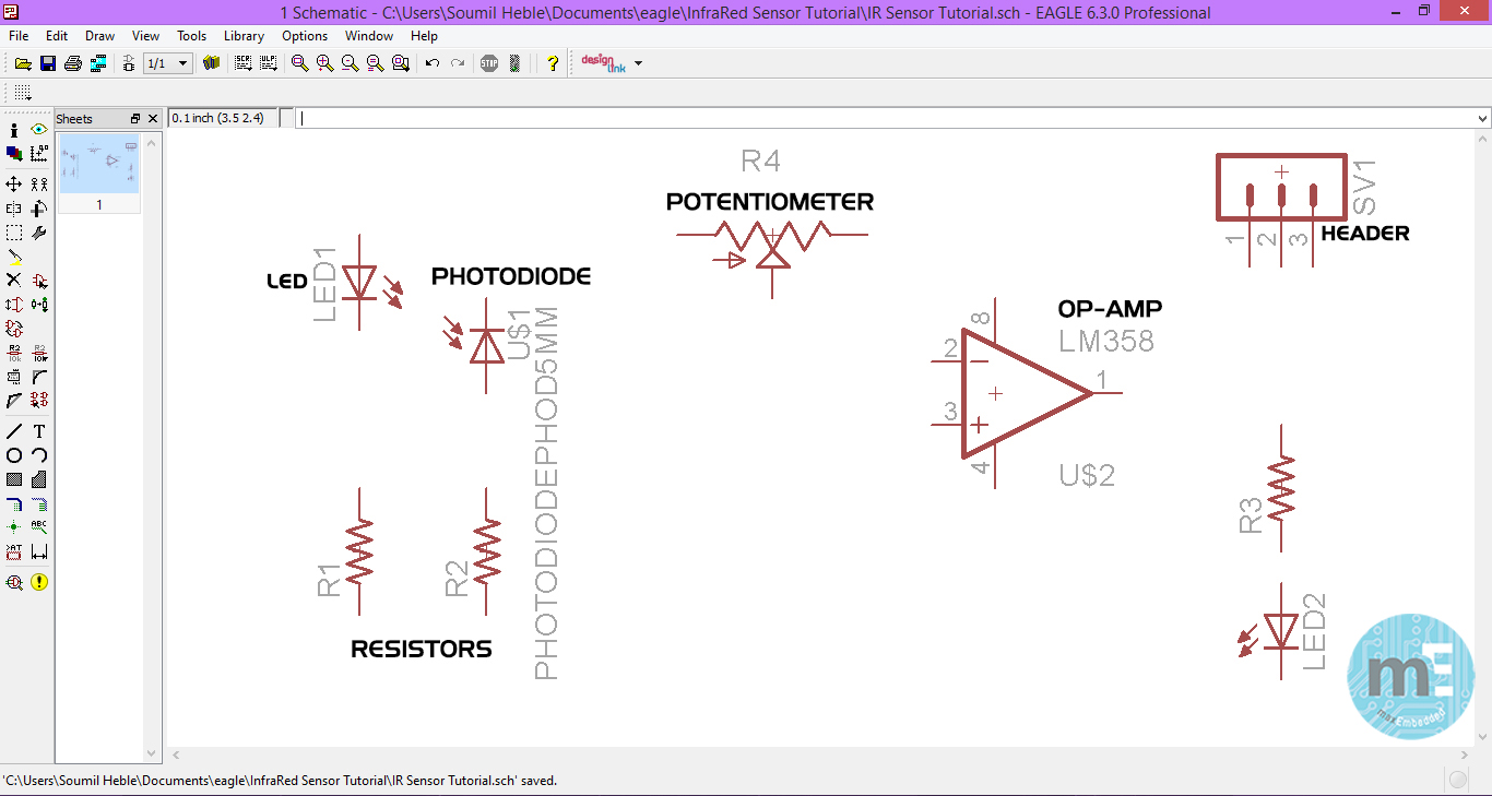 Pcb Design Using Eagle Part 2 The Schematic Editor Led Circuit Designer Step Arrange And Name Your Components