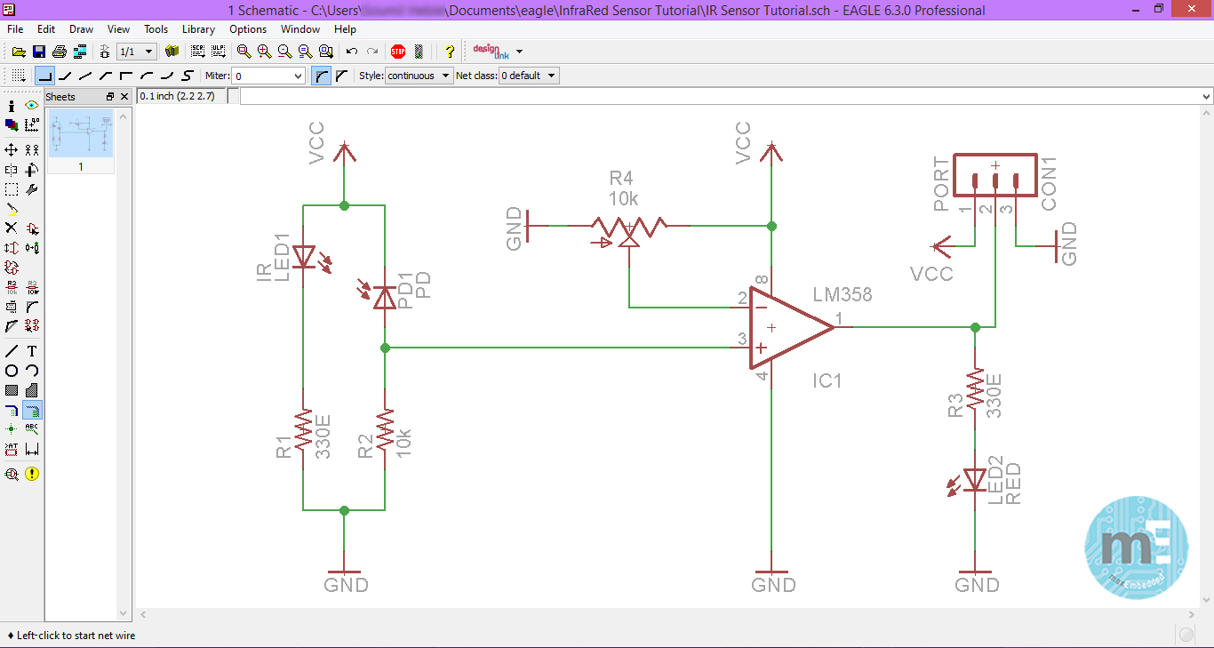 How To Create An Electrical Diagram Using Integrated Circuit Library Pcb Design Eagle Part 2 The Schematic Editor Constructing Of Ir Sensor Breakout Board