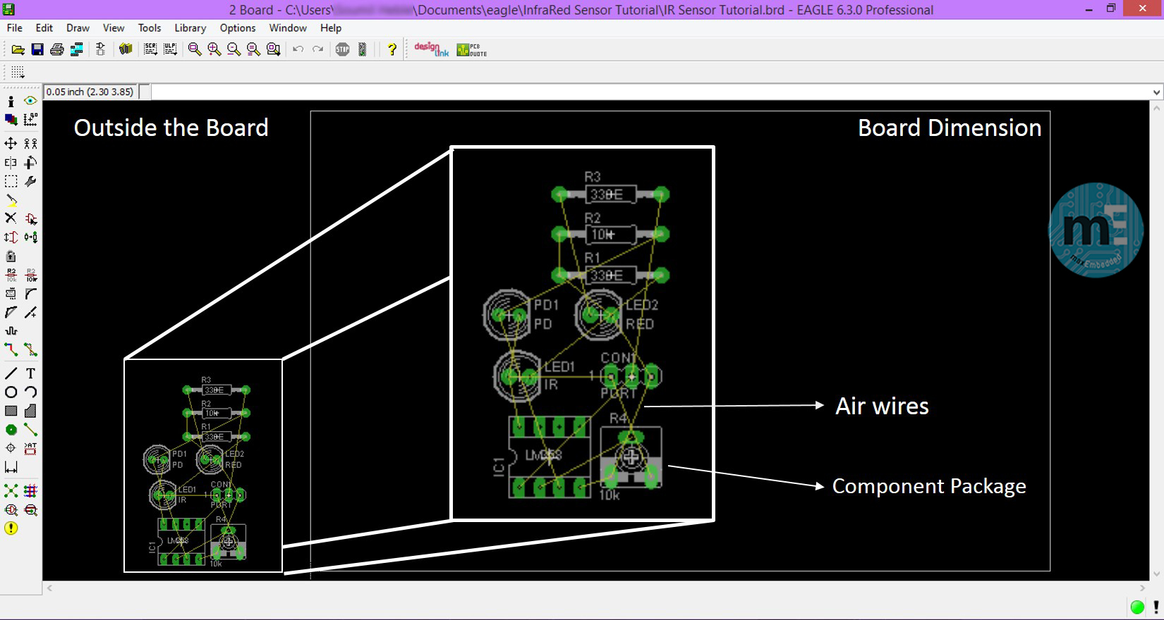 Pcb Design Using Eagle Part 3 The Layout Editor Circuit Volts Electrical Software Board Initial View