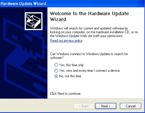 Hardware Update Wizard - WinXP