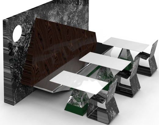 Private Ambition with Lofty Duet - green and dark wood (partitioned seating and corridor creator).717