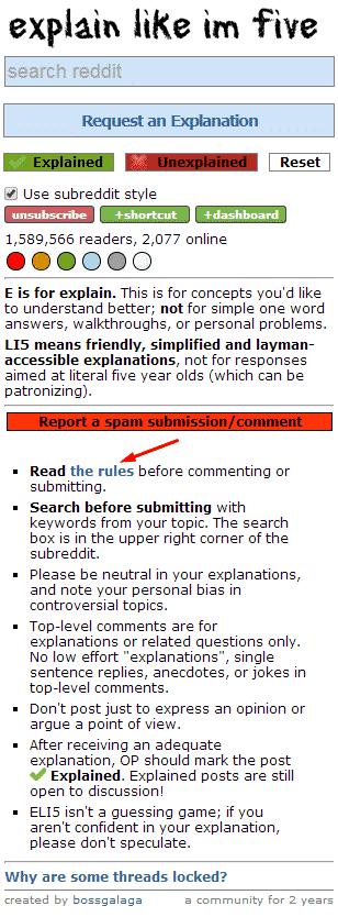 eli5 rules what is a subreddit