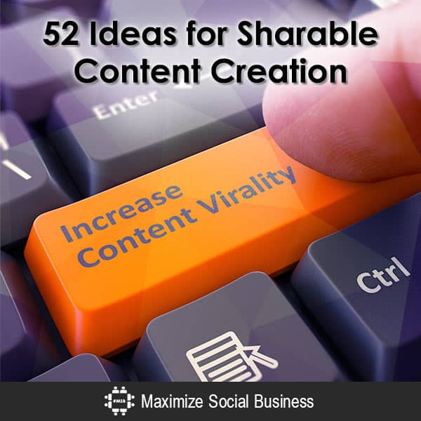 52 Ideas for Sharable Content Creation Blogging B2B Social Media Marketing Content Marketing Social Media Marketing Social Media Writing  52-Ideas-for-Sharable-Content-Creation-600x600-V3