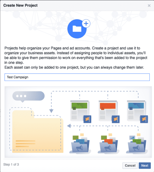 facebook business manager-create project