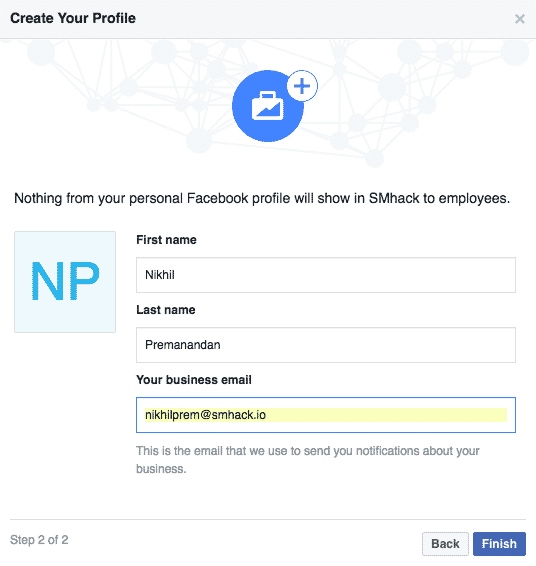 facebook business manager-create your profile