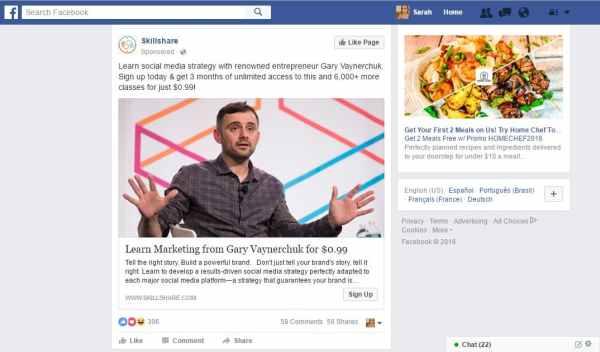 Facebook Ads desktop newsfeed sponsored ad example