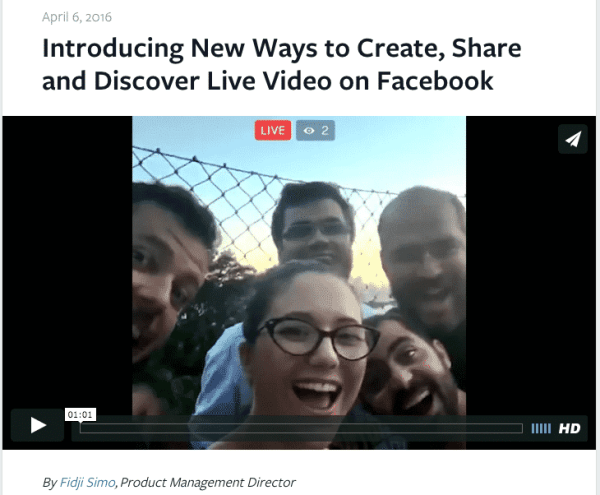 Facebook Live Launch