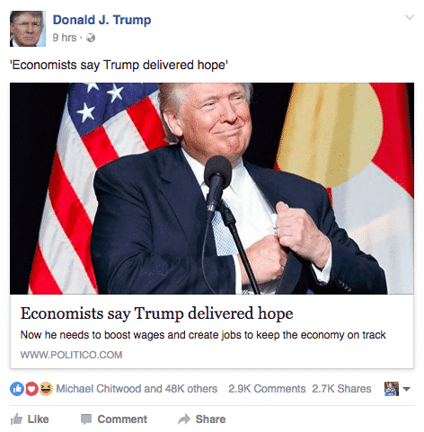 Donald Trump Shares Positive Articles