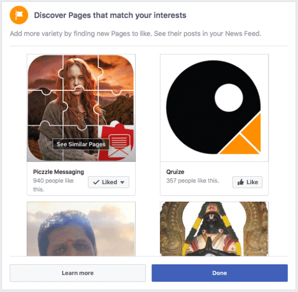 Discover Pages on Facebook Timeline