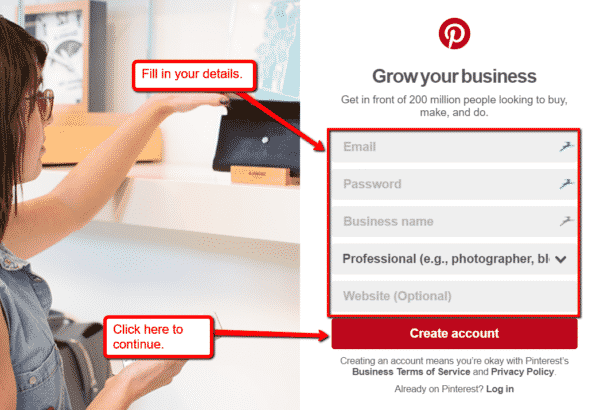 How to Use Infographics on Pinterest to Get More Website Traffic Infographics  Create_Business_Account-600x410