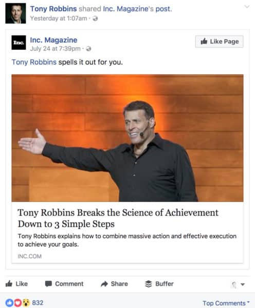 How to Boost Sales with Social Media Storytelling Content Marketing  Tony-Robbins-post-496x600