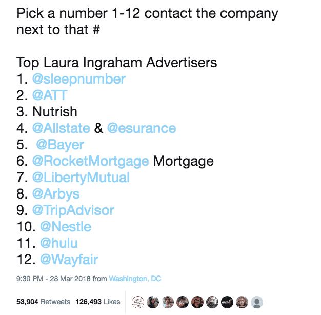 Ingraham advertisers tweet
