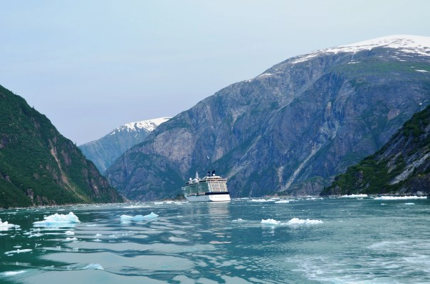 Celebrity Solstice near the South Sawyer Glacier in Tracy Arm Fjord.