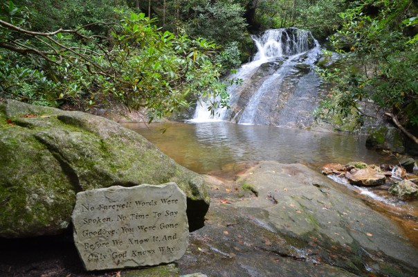 A moving tribute to Betsey graces the lovely Thorps Creek Falls.
