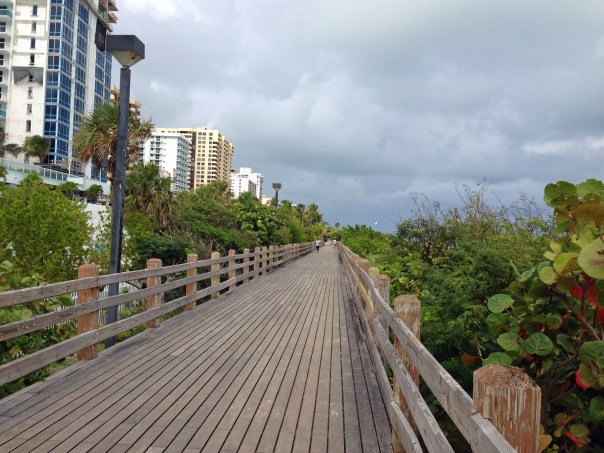 One of the world's beautiful spots, even on a cloudy day.  Here is the Miami Beach Boardwalk around 24th Street; to the left, there are plenty of ocean views not visible in this shot. Keep in mind, as you head north away from the main public beach, it's much less crowded but there are no lifeguards.