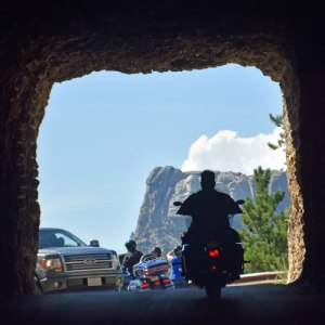 Bikers don't just stay in Sturgis - they cover the entire Black Hills area. See Mt. Rushmore in the distance?