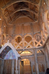 Inside the Hooperstad Stave, built and hand carved by a local professor.