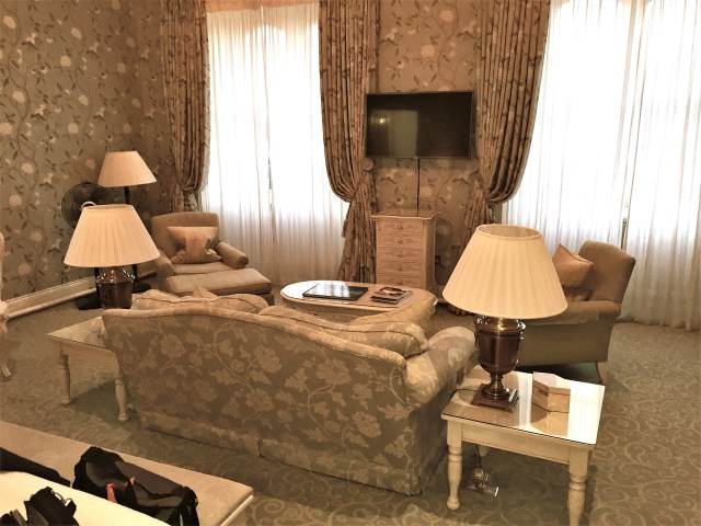 Our spacous suite at Dromoland in Ireland.