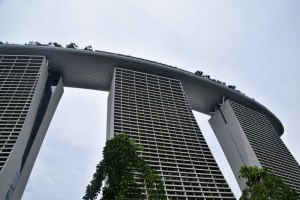 That's the pool on top, at the Marina Bay Sands Hotel, Singapore.