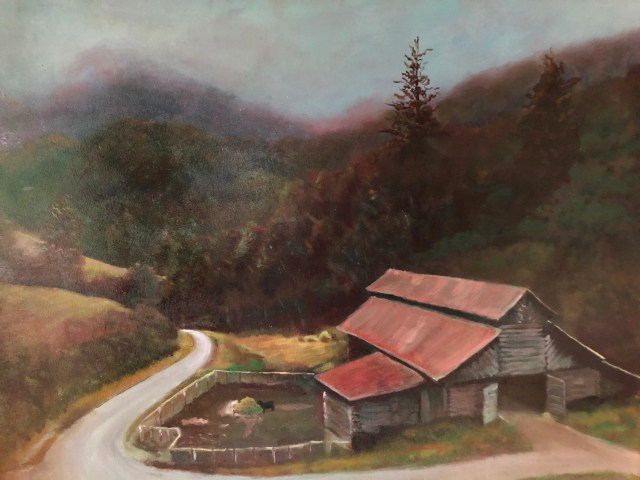 Oil painting of Wild barn By Tebbe Davis. Located in Madison County, NC.