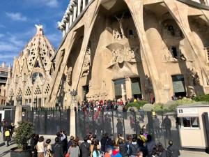 Crowds waiting to get into La Sagrada Familia in Barcelona.
