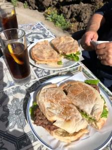 Bolo de Cacao, a local steak sandwich in Madeira.