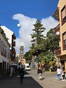 Pedestrian street in La Laguna, Tenerife, Spain.