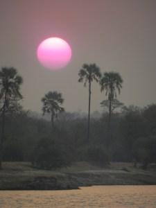 Sunset on the Zambezi in Zambia, Africa