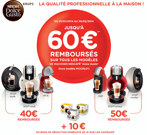 dolce gusto offre de remboursement jusqu 60 maximum. Black Bedroom Furniture Sets. Home Design Ideas