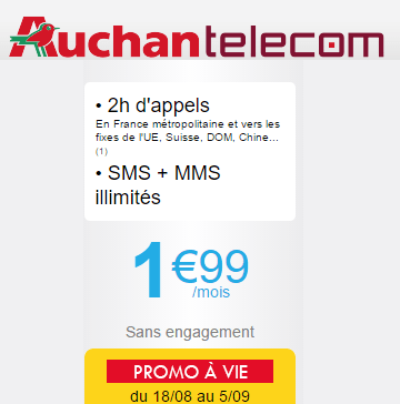 auchan telecom forfait voix 2h sms mms illimit s sans engagement et vie. Black Bedroom Furniture Sets. Home Design Ideas