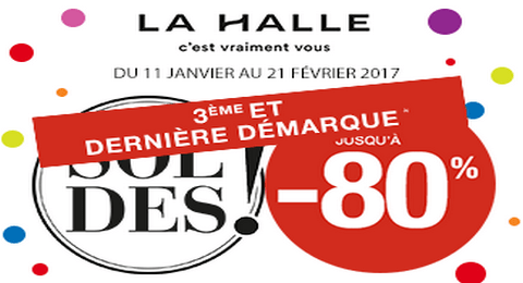 la halle soldes hiver 2017 3 me d marque jusqu 39 80 de r duction maximum chantillons. Black Bedroom Furniture Sets. Home Design Ideas