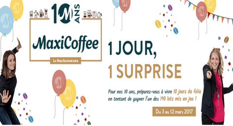 jeu anniversaire les 10 ans maxicoffee 190 cadeaux gagner maximum chantillons. Black Bedroom Furniture Sets. Home Design Ideas