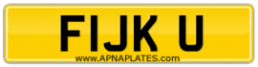 UK\BRITISH NUMBER PLATE FOR SALE F1JK U FUCK YOU FUK U