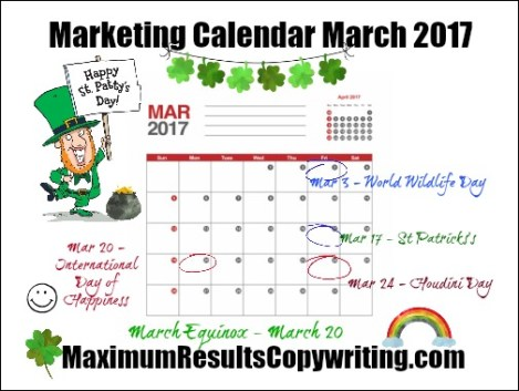 Looking Ahead  Marketing Calendar March   Maximum Results