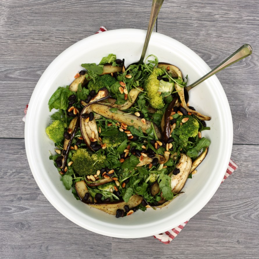 Broccoli, Black bean, Aubergine and Pine Nut Salad