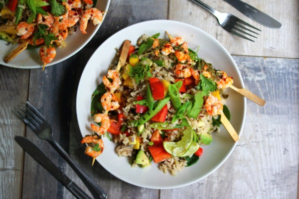 Chilli-Lime Prawn Skewers with Tropical Wild Rice Salad