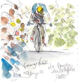 Cycling art, Tour de France, watercolour pen and ink painting, Vincenzo Nibali, La Planche des Belles Filles by Maxine Dodd