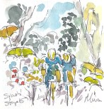 Cycling art, Tour de France, watercolour pen and ink painting, Splash! by Maxine Dodd