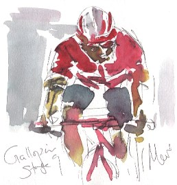 Cycling art, Tour de France, watercolour pen and ink painting, Tony Gallopin by Maxine Dodd