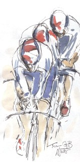 Cycling art, World Champs, Maxine Dodd, Team GB Men's Gold, Watercolour, Pen & Ink