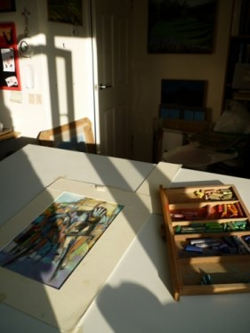 Maxine Dodd, photograph, very long shadows on work surface