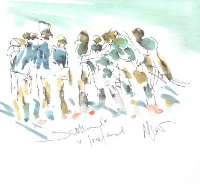 Six Nations Rugby, Art, painting by Maxine Dodd, Emerald sunshine, Scotland v Ireland