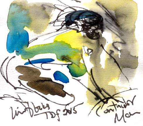 Cycling art, Tour de France, Watercolour painting Contador, In the blocks, TDF 2015, by Maxine Dodd