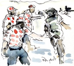 Cycling art, Tour de France, Watercolour painting Respect, by Maxine Dodd