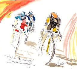 Cycling art, Tour de France, Watercolour painting SOLD - Haring to victory, Stephen Cummings, by Maxine Dodd, SOLD