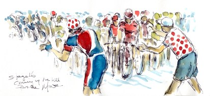 Cycling art, Tour de France, Watercolour painting Coming up the hill, part one, Stage 16, by Maxine Dodd
