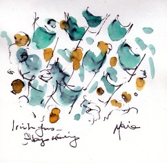 Six Nations: Irish fans and flags by Maxine Dodd, watercolour, pen and ink